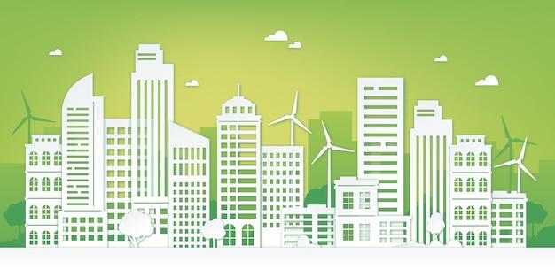 Wycinane z papieru ekologiczne miasto. zielony krajobraz miejski z drapaczem chmur, drzewami i turbinami wiatrowymi. koncepcja wektor zrównoważonej i czystej energii. ekologiczna struktura wieżowca, origami z widokiem na miasto z ilustracją wiatraka