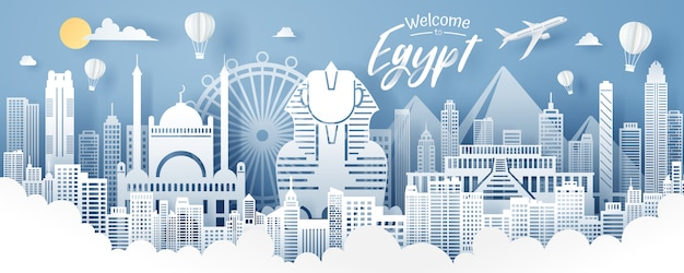 Wycinanka z papieru egiptu, podróży i turystyki.