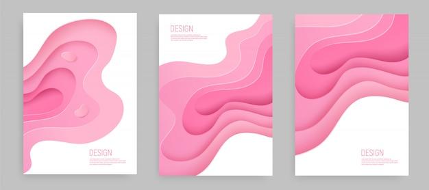 Wycinanka z różowego papieru z warstwami tła szlamu 3d i różowymi falami. streszczenie projektu układu.