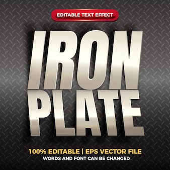 Wycinanka żelazna płyta błyszczący edytowalny efekt tekstowy