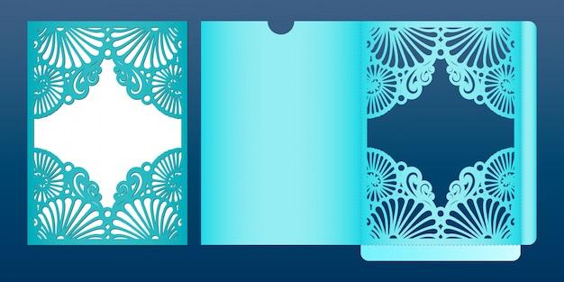 Wycinany laserowo szablon karty zaproszenia ślubne w stylu marynistycznym,. die-cut koperta kieszeń z wzorem muszelek. nadaje się do kart okolicznościowych, zaproszeń, menu.