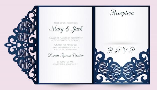 Wycinany laserowo szablon koperty ślubnej z trzema kieszeniami. zaproszenie na ślub lub kartkę z życzeniami z abstrakcyjnym ornamentem.