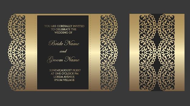 Wycinany laserowo szablon zwijanej koperty na zaproszenia ślubne.