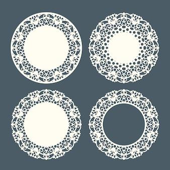 Wycinany laserowo zestaw koronkowych serwetek vintage z kwiatowym ornamentem. okrągłe ramki