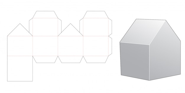 Wycinany szablon pudełko w kształcie domu