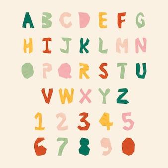 Wycinany z papieru alfabet i numer typografii wektor zestaw