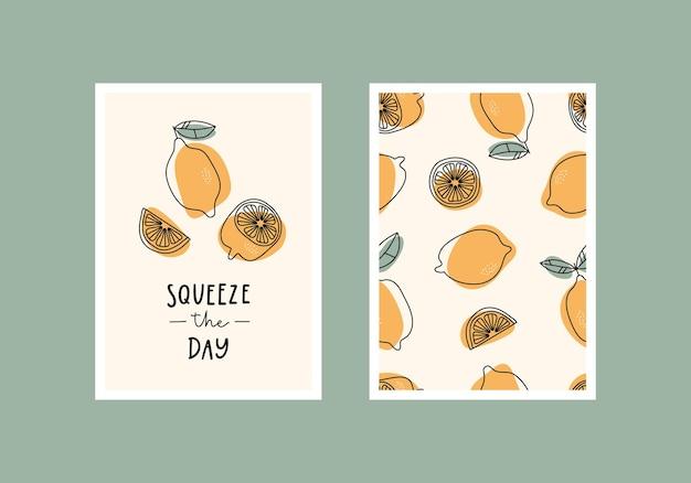 Wyciśnij dzień inspirująca karta lub wystrój domu z ręcznie rysowanymi cytrynami