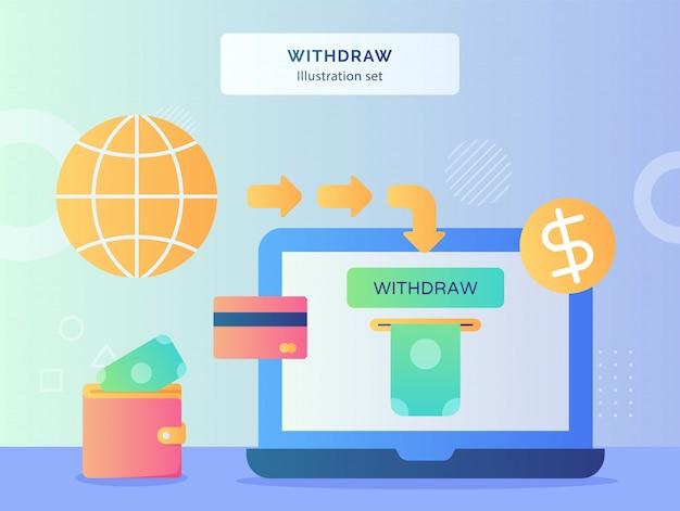 Wycofaj ilustrację ustaw pieniądze z monitora laptop tło pieniędzy włóż do portfela karta bankowa ikona monety dolara z płaskim stylem