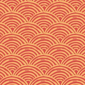 Wyczyść czerwony japoński tradycyjny wzór fal