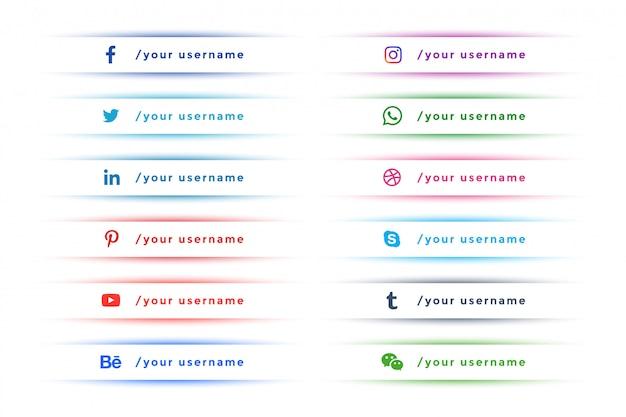Wyczyść eleganckie media społecznościowe niższa trzecia kolekcja