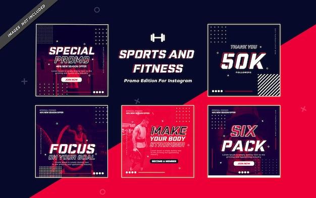 Wydanie promocyjne dotyczące sportu i fitnessu na instagramie
