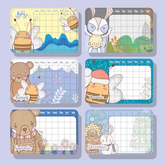 Wydarzenia kalendarza z cute projektowania zwierząt