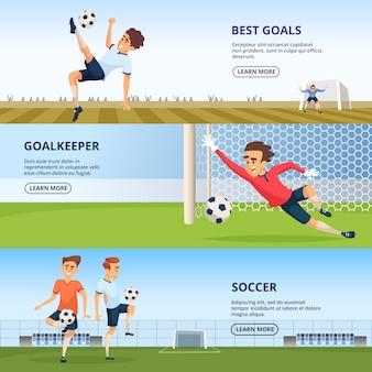 Wydarzenia sportowe. postacie piłkarskie grające w piłkę nożną. szablon projektu banerów poziomych