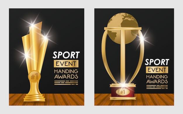 Wydarzenia sportowe trofeum nagradza plakaty