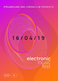 Wydarzenie dj-skie. kreatywny układ zaproszenia na pokaz. dynamiczny kształt i linia gradientu. neonowa ulotka imprezy dj. impreza techno trance. muzyka taneczna elektro. dźwięk elektroniczny. plakat festynu klubowego.