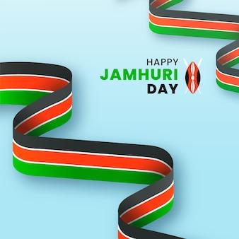 Wydarzenie dnia jamhuri ilustrowane realistyczną wstążką