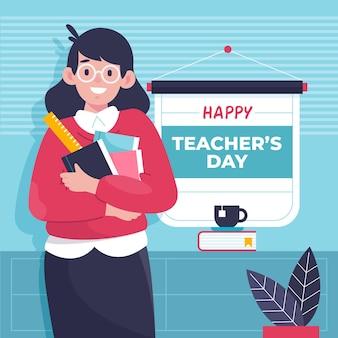Wydarzenie dnia nauczyciela ilustrowane uśmiechniętą kobietą