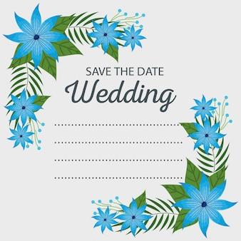 Wydarzenie karta ślub z kwiatami i liśćmi