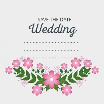 Wydarzenie karty ślub z kwiatami i liśćmi gałęzi