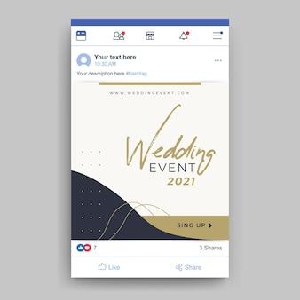 Wydarzenie ślubne post na facebooku