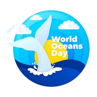 Wydarzenie światowego dnia oceanów w stylu papierowym