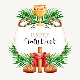 Wydarzenie świętego tygodnia w stylu przypominającym akwarele