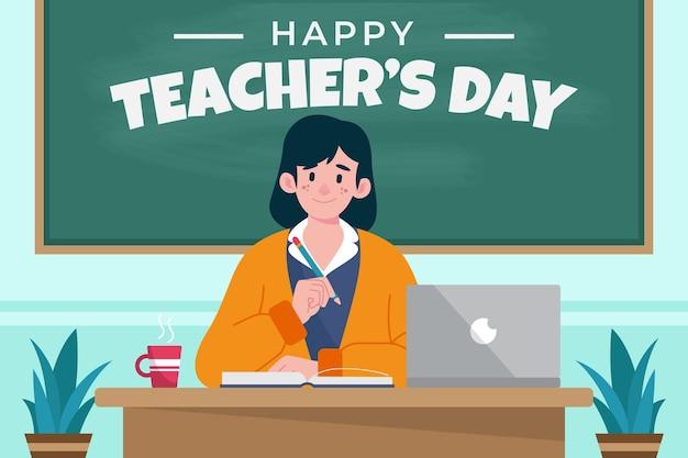 Wydarzenie z okazji dnia nauczyciela ilustrowane uśmiechniętą kobietą w klasie