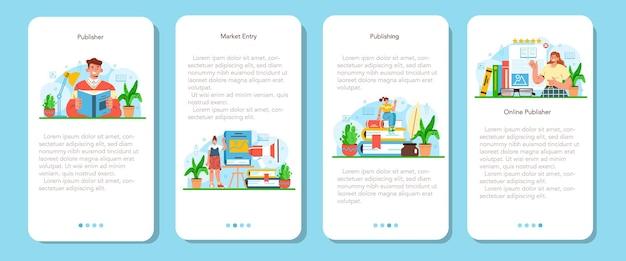 Wydawca edytora banerów aplikacji mobilnej pracujący nad książką