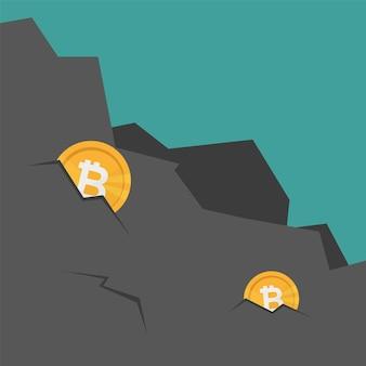 Wydobywanie bitcoinów w skale. ekstrakcja kryptowaluty. wirtualne pieniądze. ilustracja wektorowa - płaskie kreskówki