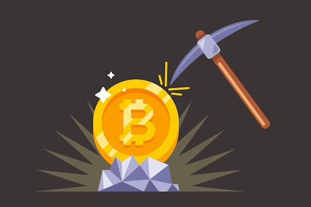 Wydobywanie bitcoinów z kilofem w kopalni. płaska ilustracja.