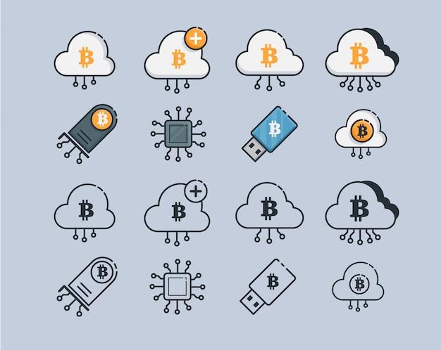 Wydobywanie ikon kryptowalut. zestaw znak nowoczesnej sieci komputerowej technologii