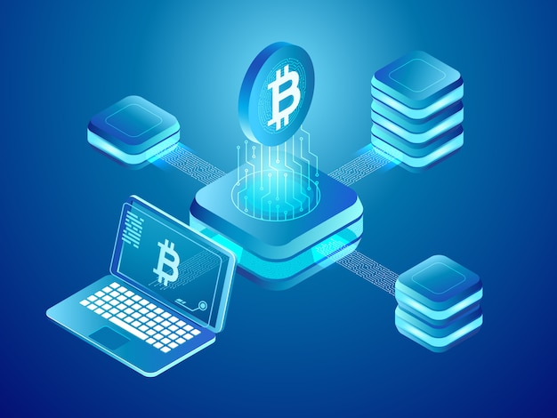 Wydobywanie monet kryptowalut, bezpieczna rozproszona sieć połączonych bloków kopalni