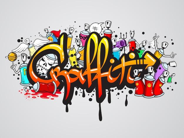 Wydruk kompozycji postaci z graffiti