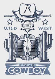 Wydruk lub plakat z dzikiego zachodu z nagłówkiem amerykańskiego kowboja oraz atrybutami i elementami kowbojów