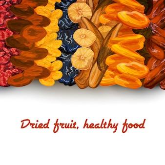 Wydruk w tle suszonych owoców