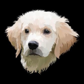 Wydruk zwierząt portret pop-artu psa na czarnym tle