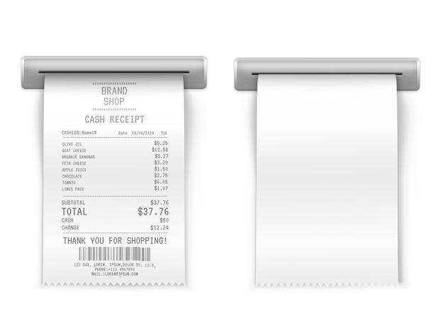 Wydrukowany paragon sprzedaży, bankomat na zakupy papierowe