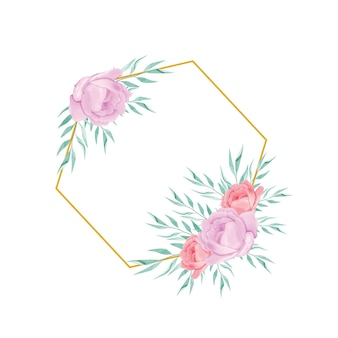Wydrukuj geometryczną złotą ramkę z akwarelowym bukietem kwiatów
