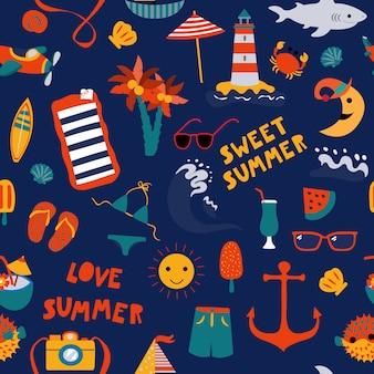 Wydrukuj lato morski niebieski