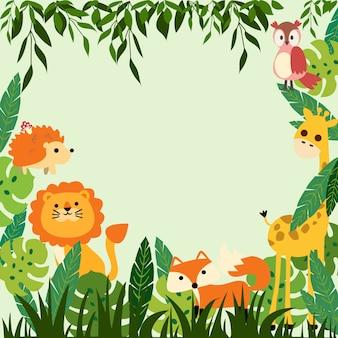 Wydrukuj ramkę dla dzieci w dżungli