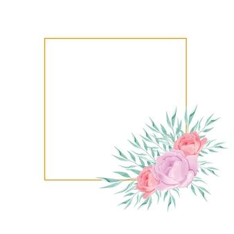 Wydrukuj ramkę z akwarelowym bukietem kwiatów