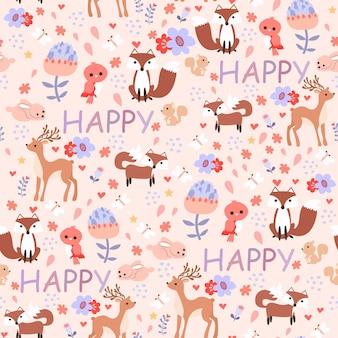 Wydrukuj szczęśliwy róż zwierząt