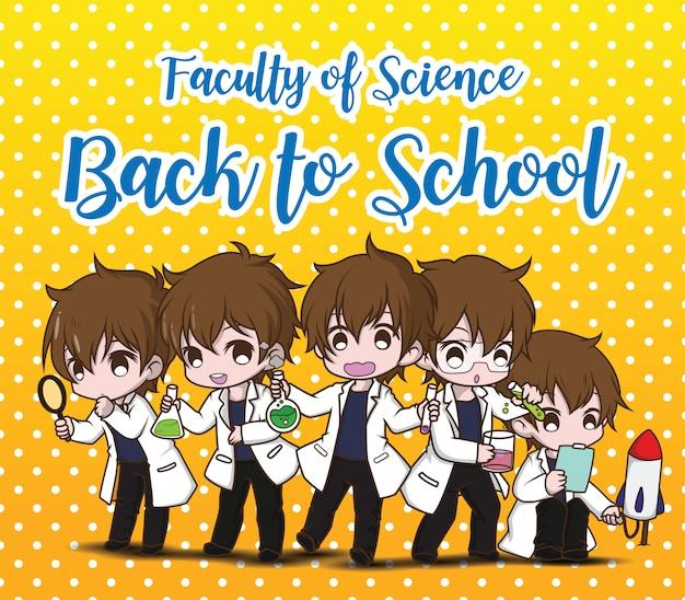Wydział naukowy, z powrotem do szkoły., ustaw śliczny naukowiec postać z kreskówki.