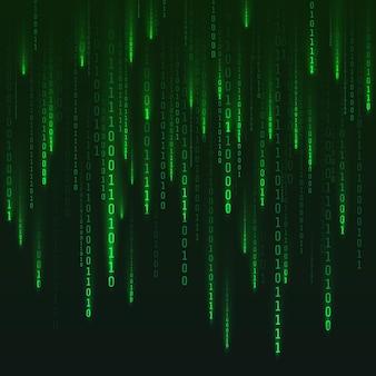Wygenerowana macierz liczb. cyfrowa wizualizacja rzeczywistości wirtualnej. zielone liczby losowe. sci fi lub futurystyczne tło. zakodowane dane. ilustracja wektorowa