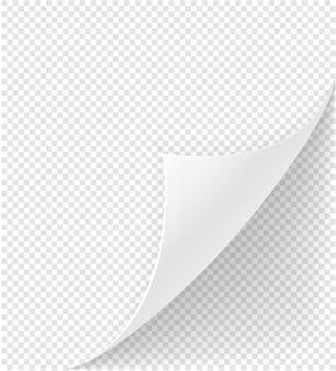Wygięty róg papieru na białym