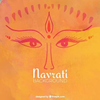 Wygląd bogini Durga pomarańczowe tło akwarela