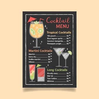 Wygląd menu koktajli