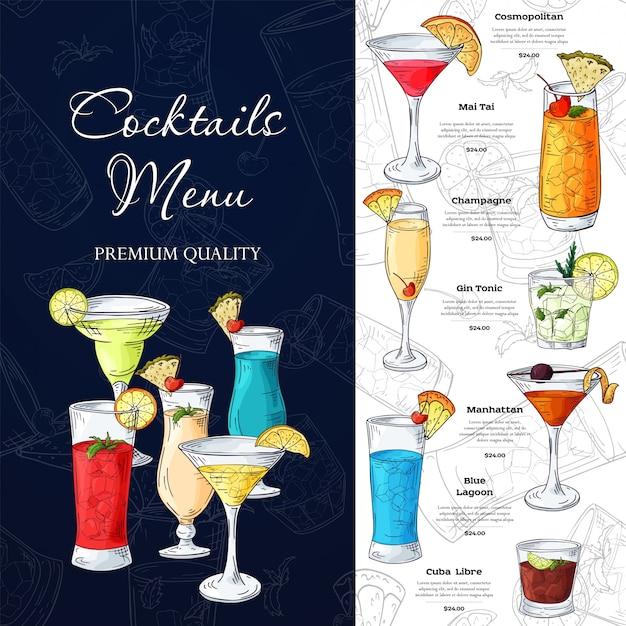 Wygląd menu paska. szablon do drinków koktajlowych.