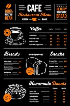 Wygląd menu restauracji kawiarni cyfrowej
