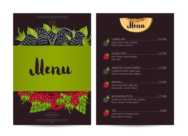 Wygląd menu restauracji wegetariańskiej